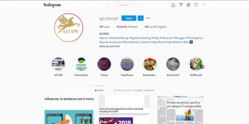Ajcom supera i 30 mila follower su IG e lancia un contest